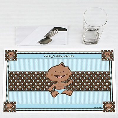 African American boy Baby Shower Placemat