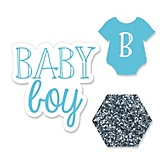 Baby Boy - Shaped Baby Shower Paper Cut-Outs - 24 ct