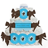 Boy Baby Carriage - 3 Tier Personalized Square Baby Shower Diaper Cake