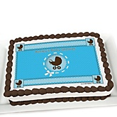 Boy Baby Carriage - Personalized Baby Shower Cake Image Topper