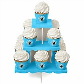 Boy Baby Carriage - Baby Shower Cupcake Stand & 13 Cupcake Wrappers