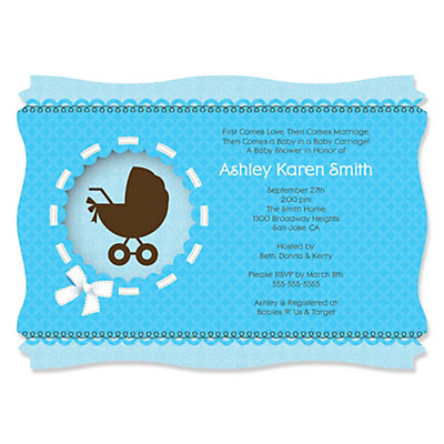 Boy Baby Carriage - Baby Shower Invitations With Squiggle Shape Baby Shower Party Supplies