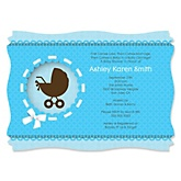 Boy Baby Carriage - Personalized Baby Shower Invitations