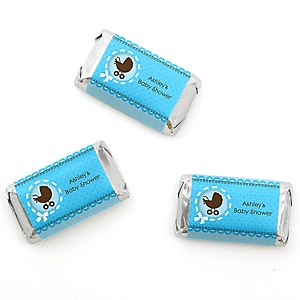 Boy Baby Carriage - Personalized Baby Shower Mini Candy Bar Wrapper Favors - 20 ct
