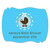 Baby Boy Carriage - Personalized Baby Shower Squiggle Sticker Labels - 16 Count