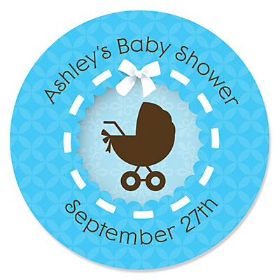 Boy Baby Carriage   Personalized Baby Shower Sticker Labels   24 Ct