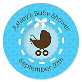 Boy Baby Carriage - Personalized Baby Shower Round Sticker Labels - 24 Count