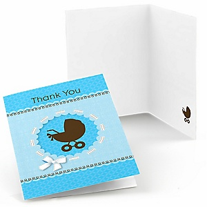 Boy Baby Carriage - Baby Shower Thank You Cards - Set of  8