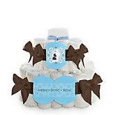 Silhouette Couples Baby Shower - It's A Boy - 2 Tier Personalized Square Baby Shower Diaper Cake