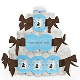 Silhouette Couples Baby Shower - It's A Boy - 3 Tier Personalized Square Baby Shower Diaper Cake