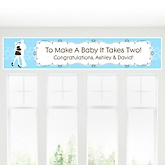 Silhouette Couples Baby Shower - It's A Boy - Personalized Baby Shower Banner