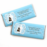 Silhouette Couples Baby Shower - It's A Boy - Personalized Baby Shower Candy Bar Wrapper Favors
