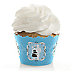 Silhouette Couples Baby Shower - It's A Boy - Baby Shower Cupcake Wrappers