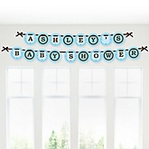 Silhouette Couples Baby Shower - It's A Boy - Personalized Baby Shower Garland Banner