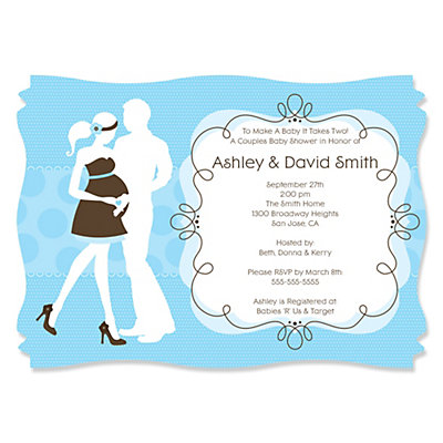 Silhouette Couples Baby Shower - It's A Boy - Baby Shower Invitations With Squiggle Shape Baby Shower Party Supplies