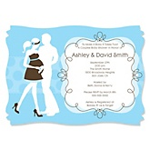 Silhouette Couples Baby Shower - It's A Boy - Baby Shower Invitations