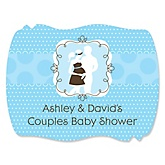 Silhouette Couples Baby Shower It's A Boy - Personalized Baby Shower Squiggle Sticker Labels - 16 Count