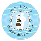 Silhouette Couples Baby Shower - It's A Boy - Personalized Baby Shower Round Sticker Labels - 24 Count