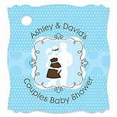 Silhouette Couples Baby Shower - It's A Boy - Personalized Baby Shower Tags - 20 Count