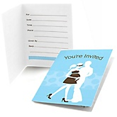 Silhouette Couples Baby Shower - It's A Boy - Fill In Baby Shower Invitations - Set of  8