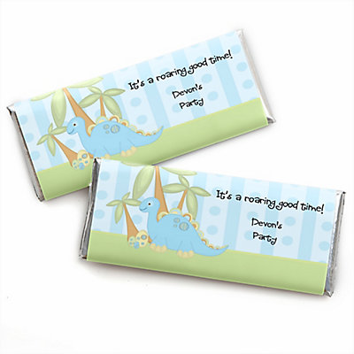 baby boy dinosaur personalized baby shower candy bar wrapper favors