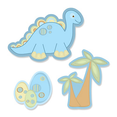 Baby boy dinosaur shaped baby shower paper cut outs for Baby shower decoration cutouts