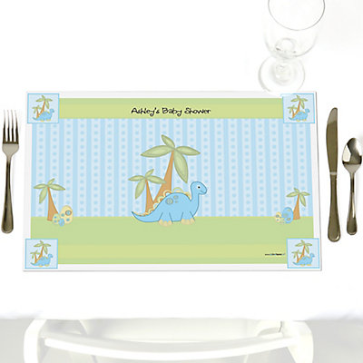 Blue Dinosaur Personalized Baby Shower Place mats