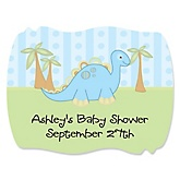 Baby Boy Dinosaur - Personalized Baby Shower Squiggle Sticker Labels - 16 Count