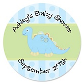 Baby Boy Dinosaur - Personalized Baby Shower Round Sticker Labels - 24 Count