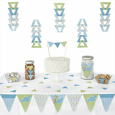 Baby boy dinosaur 72 piece triangle baby shower for Baby boy shower decoration kits
