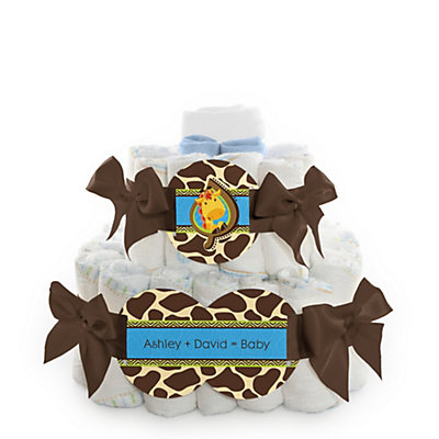 Giraffe Boy - Personalized Baby Shower Square Diaper Cakes - 2 Tier