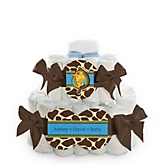 Giraffe Boy - 2 Tier Personalized Square Baby Shower Diaper Cake