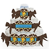 Giraffe Boy - 3 Tier Personalized Square Baby Shower Diaper Cake