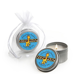 Giraffe Boy - Candle Tin Personalized Baby Shower Favors