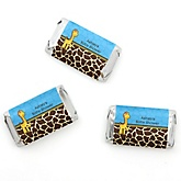 Giraffe Boy - Personalized Baby Shower Mini Candy Bar Wrapper Favors - 20 ct