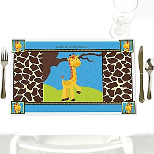 Giraffe Boy - Personalized Baby Shower Placemats
