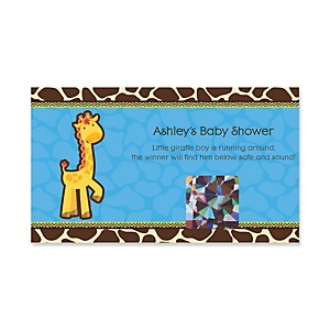 Giraffe Boy - Personalized Baby Shower Game Scratch Off Cards - 22 ct