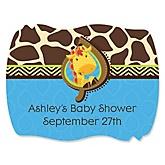 Giraffe Boy - Personalized Baby Shower Squiggle Sticker Labels - 16 Count
