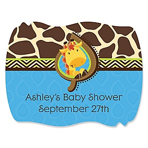 Giraffe Boy - Personalized Baby Shower Squiggle Stickers - 16 ct