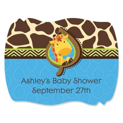 Giraffe Boy   Personalized Baby Shower Squiggle Stickers   16 Ct