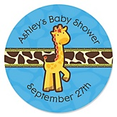 Giraffe Boy - Personalized Baby Shower Round Sticker Labels - 24 Count