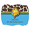 Giraffe Boy - Personalized Birthday Party Squiggle Stickers - 16 ct