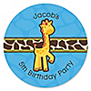 Giraffe Boy - Personalized Birthday Party Sticker Labels - 24 ct