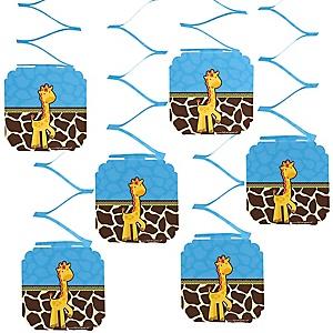 Giraffe Boy - Baby Shower Hanging Decorations - 6 Count