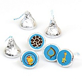 Giraffe Boy - Round Candy Labels Party Favors - Fits Hershey's Kisses - 108 ct