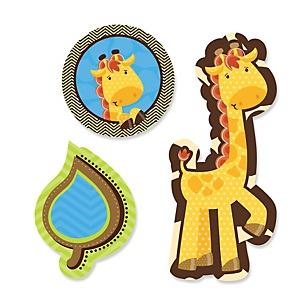Giraffe Boy - Shaped Baby Shower Paper Cut-Outs - 24 ct