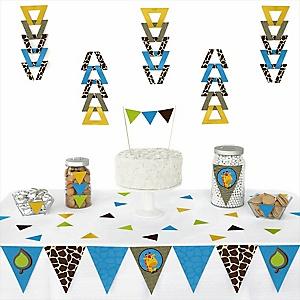 Giraffe Boy - Baby Shower Triangle Decoration Kits - 72 Count