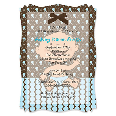 Modern Baby Boy Hispanic - Personalized Vellum Overlay Baby Shower Invitations With Squiggle Shape Baby Shower Party Supplies