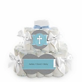 Little Miracle Boy Blue & Gray Cross - 2 Tier Personalized Square Baby Shower Diaper Cake
