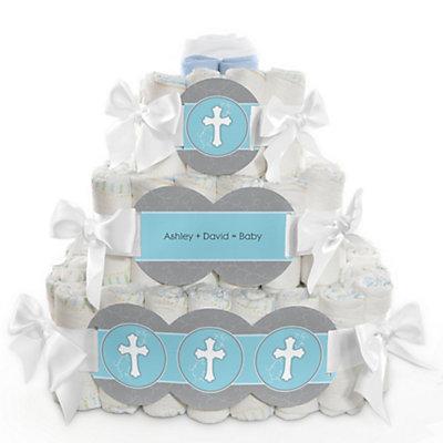 Boy Baptism or Christening diaper cake